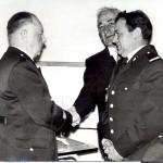T. Huggenberger, le maire Seiler A. et J. Rein lors de la passation de commandement.