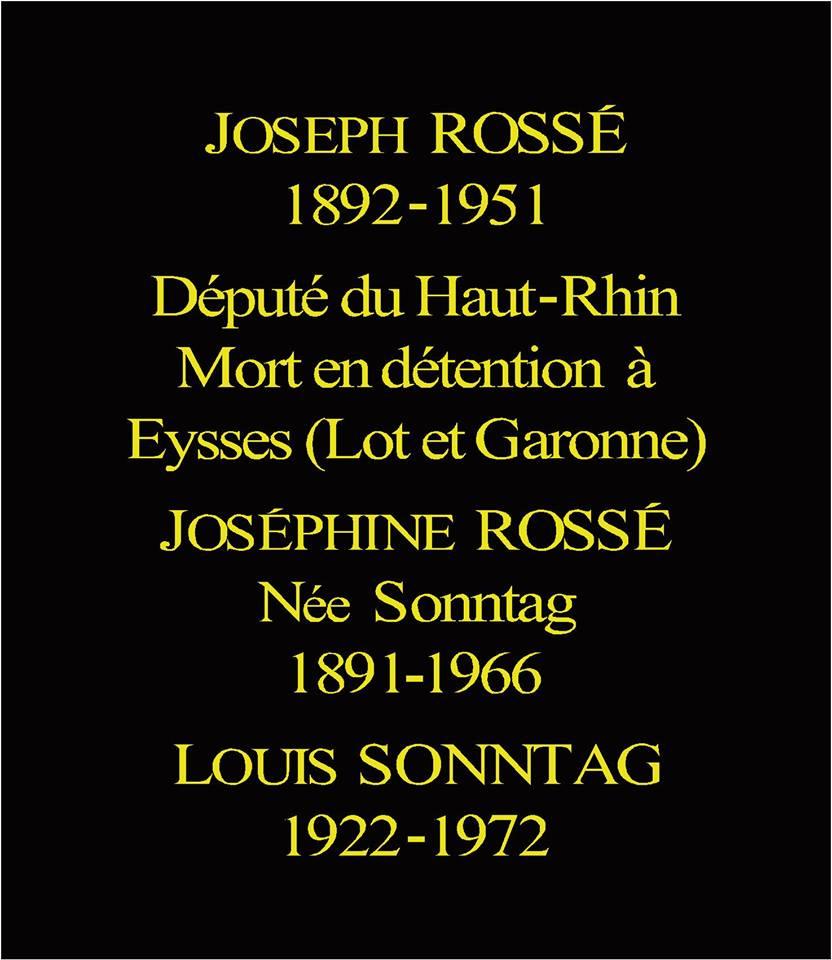 Plaque Joseph Rossé